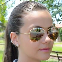 Oculos Rayban Aviador Dourado Espelhado Masculino Feminino