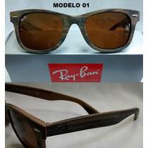 Óculos De Sol Wayfarer Madeira Retro Masculino Feminino