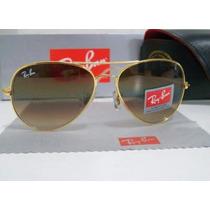 Óculos Aviador Rb3026 Tamanho G / Dourado Lentes Marrom