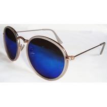 Oculos Redondo John Lennon Dourado Lente Azul Espelhada