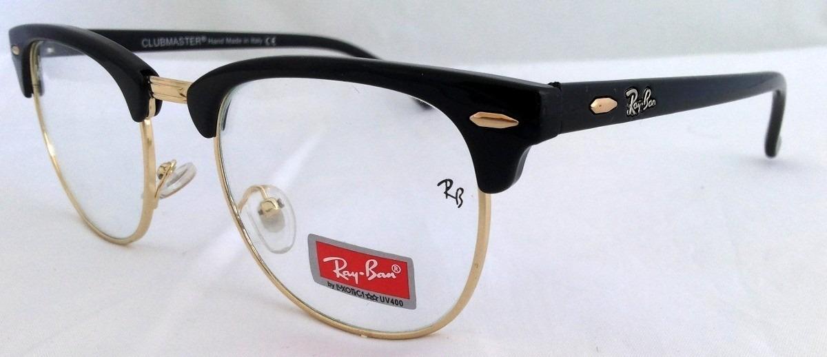 óculos ray ban clubmaster rb3016 preto com dourado   Money in the ... dd40074a88