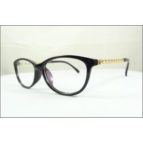 Armação Óculos De Grau Preta Chique Haste Dourada - A507