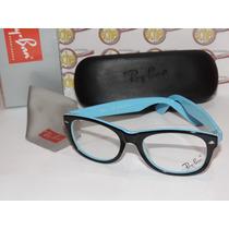 Armação Oculos Grau Rb5184 Azul Caixa Case Flanela Ray-ban