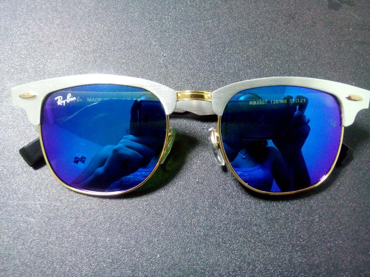 fd52308cddd79 ray ban clubmaster aluminum ray ban aviator mirror blue lenses