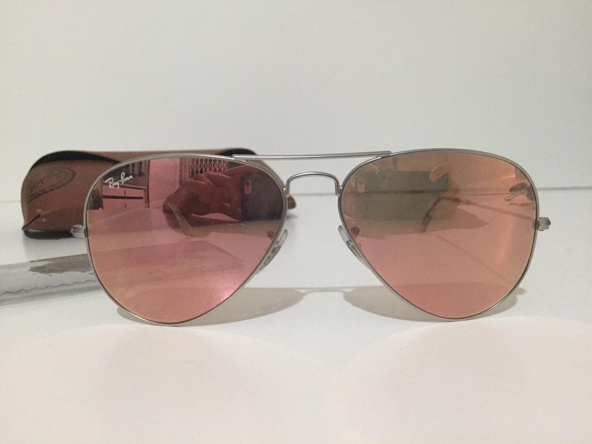 cef5ec085053b Óculos Ray-ban Aviador Rosê Espelhado- Original. - R  370