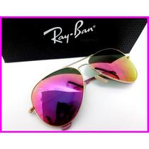 Óculos Ray Ban Aviador Dourado 3025 E Lentes Lilás Espelhado
