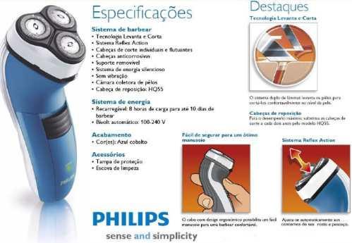 *oferta*barbeador Elétrico Recarregável Philips C/ 3 Cabeças