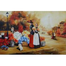 Pintura Óleo Sobre Tela - Paisagem Paris(90x60cm)sem Moldura