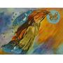 Abstrato- Pintura Tela Mistico Tulipas Flores Mulher Moderna
