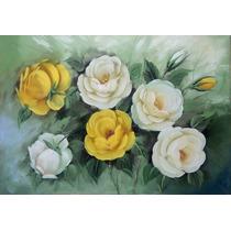 Quadro Decorativo Rosas Óleo Sobre Tela A Pronta Entrega