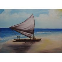 Pintura Óleo Sobre Tela- Paisagem Marina(70x50cm)sem Moldura