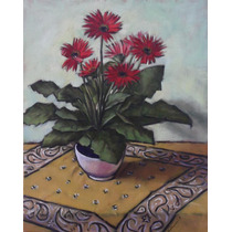 Quadro Pintura Óleo S/ Tela Vaso Flores 40x50cm Frete Grátis