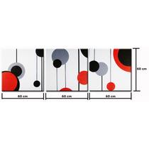 Conjunto Quadros Pintura Tela Abstrato 60 Cm X 1,80 Metro