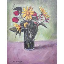 Quadro Óleo S/ Tela Pintura Vaso Flores 28x36cm Frete Grátis