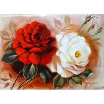 Tela Flores Rosas Pintura Quadro Decorativo Em Tela