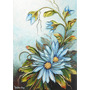 Pintura Em Tela - Flores Azuis Com Textura Em Tecido
