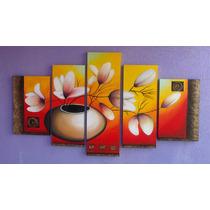 Pintura Em Tela Jarro De Flores (frete Grátis)