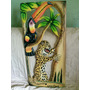 Lindo Quadro Vazado Esculpido Em Madeira Com Tema Amazônico