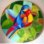 Quadro Pintura Óleo - Araras - Diâmetro 90 Cm
