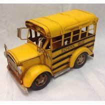 Ônibus Escolar Antigo Metal Décor Crd303