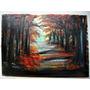 Pintura Óleo Sobre Tela Bosque - Pintado À Mão 50x65