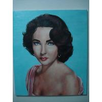 Quadro - Retrato Elizabeth Taylor 60x70 - Óleo Sobre Tela