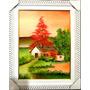 Quadro Pintura Em Tela - Casa Do Pinheiro Vermelho