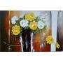 Pintura Em Tela - Rosas Amarelas E Brancas