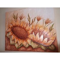 Promoção Quadro Decorativo Tela Flor Pintado A Mão Relevo
