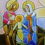 Quadro Decorativo Sagrada Família Pintura A Mão 40x40