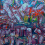 Quadro Pintura Abstrata Tinta Óleo S/tela 40x40cm