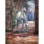 Quadro Cavalo Árabe Branco - Óleo Sobre Tela 60x80cm