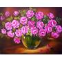 Quadro Pintura Em Tela - Vaso E Rosas Rosas - Óleo