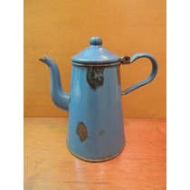 Antigo Bule Esmaltado Azul Vintage Anos 60