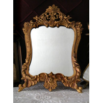Antigo Espelho Veneziano Em Bronze Trabalhado