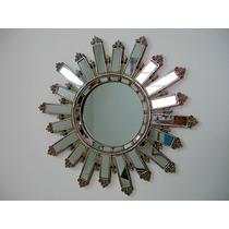 Espelho Europeu Redondo Em Forma De Ostensório Belíssimo
