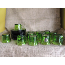Conjunto 12 Xicara Cafe Com Pires Em Vidro Duralex Cor Verde