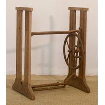 Base/pé De Madeira De Maquina De Costura Antiga- Imbuia