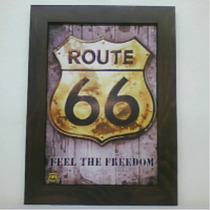 Route 66 Quadro Placa Em Relevo Adesivado Retro
