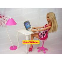 Escritório Para Boneca Barbie * Mesa Cadeira Notebook * Sala