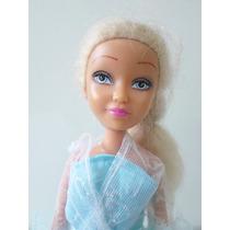 Boneca Estilo Barbie Com Vestido Azul Em Otimo Estado