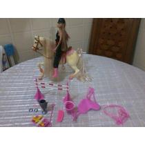 Cavalo Da Barbie 27cm Alt + Todos Acessórios + Linda Barbie