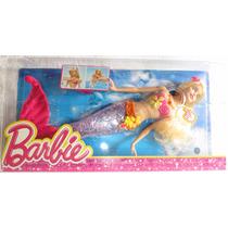 Boneca Barbie Sereia Com Luzes E Brilho Mattel V7046