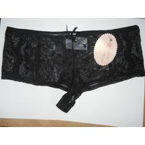Calça Calcinha Coleçon Preta De Tule Playboy Gg