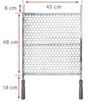 Grelha Para Churrasco Em Aço Inox Cabo De Alumínio 45 X 48cm