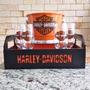 Kit Home Bar Harley Davidson, Caixa, Balde, Taças + Brinde