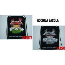 Mochila Saco Bolsa Sacola Em Brim Metallica Rock