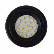 Spot Preto Redondo De Embutir P/ Móveis 18 Leds 1w Luminária