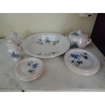 #17539 - Jogo 12 Peças Ibá Porcelana Azul!!!