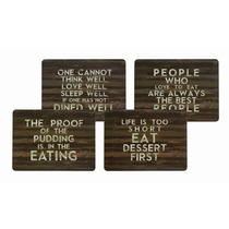 Placemats - Kitchen Craft Slogan Cork Backed Set Of Four